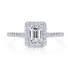14k White Gold 1 1/2Ct TDW Halo Certified Emerald Cut Diamond Engagement Ring
