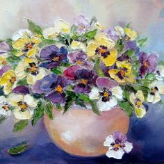 Adorable pot of pansies painting, so cute!