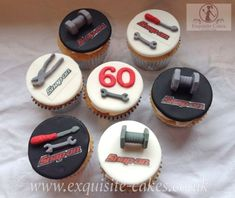 Mechanics tool cupcakes - Cake by Natalie Wells … 50th Birthday Cupcakes, 40th Cake, Dad Cake, Dad Birthday Cakes, Cupcakes For Men, Fun Cupcakes, Cupcake Cakes, Mechanic Cake, Truck Cakes