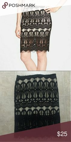JOA Black Lace Over Nude Slip Skirt Sexy skirt that can be dressed up with a blouse for work or a crop top for a night out. Super comfy and unique J.O.A. Skirts Pencil