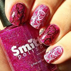Valentine mani using Amas Veritas by Smitten Polish and Mo-You London Princess stamping plate