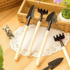 3 Unids Mini Kit de Herramienta de Mano Del Jardín Planta de Jardinería Pala Rastrillo Pala Paleta De Madera Mango de Metal Cabeza Jardinero Envío Gratis