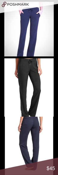 """Athleta Midtown Trouser, Relaxed Fit Great comfy pants that look pulled together! Mid rise, wide leg. Drawstring at ankles to cinch. Elastic waist with tie closure. Pockets at hips and in back. 31.5"""" inseam. 92%polyester/8% spandex. Worn once. Excellent condition. Athleta Pants Trousers"""