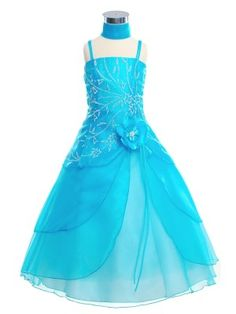 Turquoise Triple Layered Tulip Skirt Long Flower Girl Dress (Sizes 2-20 in 6 Colors) - Junior Bridesmaid Dresses - JUNIOR