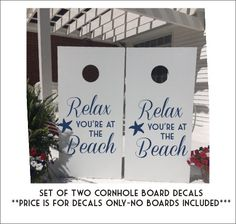 Relax You're at the Beach Cornhole Decals by CustomVinylbyBridge