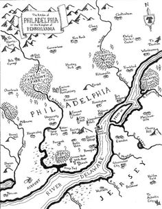 Inspired by the maps in epic fantasy novels like J.R.R. Tolkiens Lord of the Rings, this map shows Philadelphia as a fantasy land of castles and