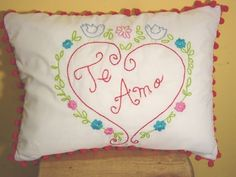 "hand embroidered pillow cover ""I love you"""