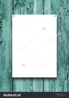 Blank nailed frame on aqua scratched wooden boards background