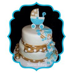 Sweet baby #cake with a cute button waterfall. @tastriesbakery