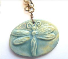 Dragonfly Necklace  Vintage Pearls Ceramic by TheBeadedCottage, $34.00