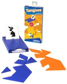 Tangoes is a learning tool that combines artistic and mathematical elements to enhance visual perception ability, develop problem solving skills, creative thinking capacity and teamwork. The classic tangram forms a square. These 7 pieces can also form an infinite number of abstract designs, human figures, animals and everyday objects. The object of Tangoes products is to form the image on the card using all seven puzzle pieces. ages 5 to 105