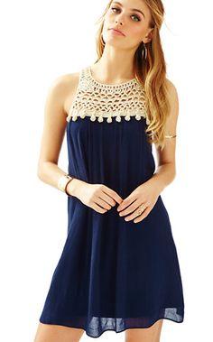 Resort dresses summer dresses for women lilly pulitzer Modest Dresses, Simple Dresses, Pretty Dresses, Easy Dress, Beach Dresses, Satin Dresses, Crochet Yoke, Crochet Fabric, Crochet Clothes