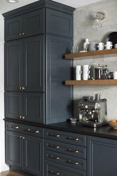 Our Dark & Moody Kitchen Reveal - Room for Tuesday - Kitchen Ideas Dark Kitchen Cabinets, Blue Cabinets, Kitchen Counters, Kitchen Cupboard, Kitchen Islands, Black Counter Top Kitchen, Soapstone Kitchen, Updated Kitchen, New Kitchen