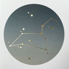 LEO zodiac constellation card, ombre print with gold foil, by Lollipop Designs