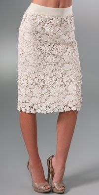 cream lace pencil skirt.. I'd want this maybe an inch or two shorter.. Love it!