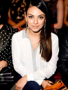 Star Tracks: Monday, April 20, 2015 | SLEEK AND CHIC | Also at Thursday's Burberry event in Los Angeles: Mila Kunis, looking chic in a white blouse and sleek side part.