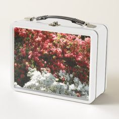 Pink And White Flowers Metal Lunch Box - kitchen gifts diy ideas decor special unique individual customized