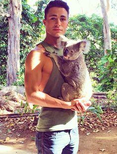 colton haynes w/ koala