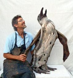 large Penguin driftwood by tony fredriksson www.openskywoodart.com
