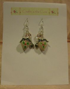 Pink Angel Lampwork Heart Crystal Earrings by crafts4thecure