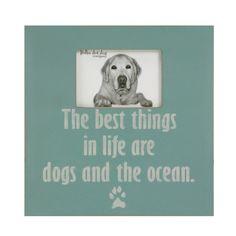 Coastal dog decor distressed beach frame dog by thepolkadotdog, $40.00