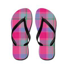 b22485835 PINK PLAID Flip Flops on CafePress.com