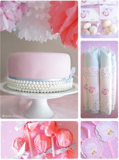 Soft blue and pink dominate this vintage mood baby shower