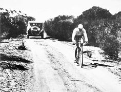 Hubert Opperman (Oppy)cycling across Australia 1930's.Australian cyclist and politician, whose endurance cycling feats in the 1920s and 1930s earned him international acclaim.Hubert rode a bicycle from the age of eight until his 90th birthday, when his wife Mavys, fearing for his health and safety, forced him to stop. His stamina and endurance in cycling earned Opperman the status of one of the greatest Australian sportsmen.