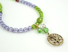 Moon Cycle Tracking Necklace, Tree of Life movable charm, green and lilac, by veddma, $47.00