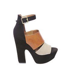 SHOCKER BLACK MULTI women's dress high ankle strap - Steve Madden