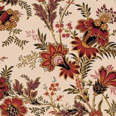 "f-PRE-ORDERSavannah - rust/gold/black/brown floral with green leaves on cream A-7158N - ""The Quilted Crow Quilt Shop, folk art quilt fabric, quilt patterns, quilt kits, quilt blocks"