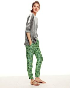 J.Crew collection cashmere drapey boatneck sweater and collection cropped pant in medallion floral.