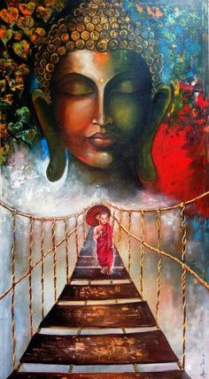Buy Buddha And Monk Child 3 artwork number a famous painting by an Indian Artist Arjun Das. Indian Art Ideas offer contemporary and modern art at reasonable price. Buddha Artwork, Buddha Wall Art, Buddha Canvas, Acrylic Painting Canvas, Canvas Art, Paintings On Canvas, Canvas Size, Canvas Painting Designs, Buy Canvas