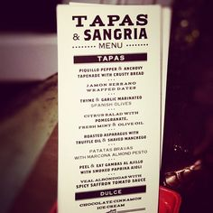 Excellent menu for a Tapas & Sangria party
