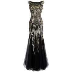 ec1806090 Tienda Online Vestido de fiesta largo con lentejuelas doradas Vintage con  cuello barco Bateau de Angel