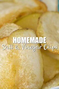 Homemade Salt and Vinegar Chips - Homemade In The Kitchen Recipes - Oven Potato Chips, Potato Chips Homemade, Fried Potato Chips, Fried Chips, Home Made Potato Chips, Oven Baked Chips, Baked Potato Recipes, Crab Recipes, Baking Recipes