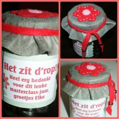Bedankje voor de juf. Cute Gifts, Diy Gifts, Yellow Bouquets, Queen Annes Lace, Diy Presents, Thank You Gifts, Little Gifts, Beautiful Bride, Drink Sleeves