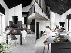 design scandinave salle à manger en noir et blanc