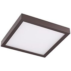 "Disk 8"" Wide Bronze Square LED Indoor-Outdoor Ceiling Light"