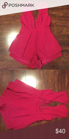 Lulu's romper, BRAND NEW WITH TAGS Red romper, brand new never worn, open back deep v neck Lulu's Other