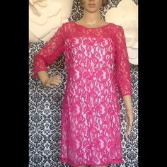 PRETTY IN PINK DRESS NWOTFinal Price Hot Pink lace over white dress, new without tag. My daughter tried on and lost tag around the house, never use. Perfect for Spring!! Excellent condition, smoke free, comes from a pet free home. oh also is size 6, but it will probably fit someone size 8. Take it home! SANDRA DARREN Dresses Midi