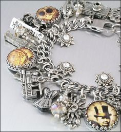 Steampunk Charm Bracelet Steampunk Jewelry by BlackberryDesigns