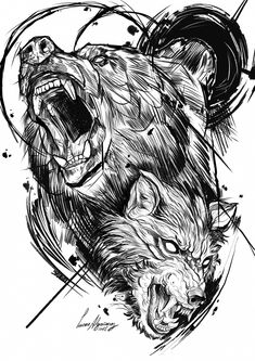 I really am into the colors and shades outlines and depth. This is certainly Wolf Tattoos Bear Tattoos, Wolf Tattoos, Animal Tattoos, Body Art Tattoos, Sleeve Tattoos, Sketch Style Tattoos, Tattoo Sketches, Tattoo Drawings, Norse Tattoo