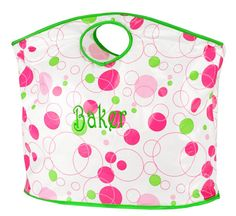 Pink/Green Circle Tote Personalized