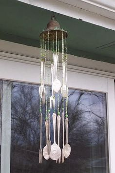 wind chime used eight spoons and four forks.