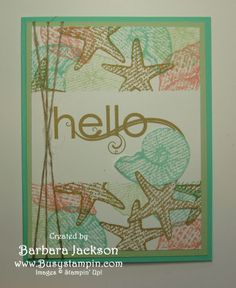 Seashells with Masked Border by BarbaraJackson - Cards and Paper Crafts at Splitcoaststampers