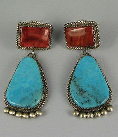 Vntg Navajo B. JOE Turquoise/Spiny Oyster Drop Earrings