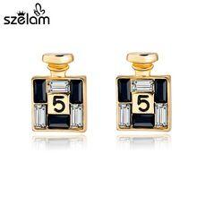 2016 recién llegado de oro Bijoux pendientes canal para mujeres Earings cristalinos del perno prisionero de la joyería famosa marca Brincos SER150066(China (Mainland))