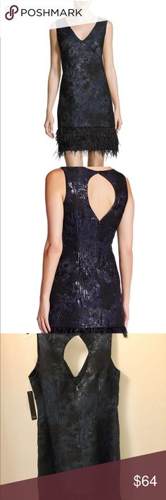 🖤Nicole Miller Feather Hem Cocktail Dress NWT - Beautiful navy black brocade metallic embellished feather hem back cut out  cocktail dress! Perfect for holidays and special occasions!  Happy Poshing 🤗 Nicole Miller Dresses