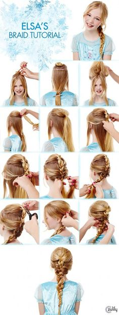 Elsa Braid Tutorial Disney Frozen Hair Tutorials Elsa and Anna Hacks. Step by Step Tutorials for Side Braids Coronation Buns and Royal Updos on Frugal Coupon Living. The post Frozen Hair Tutorials Elsa and Anna Hacks appeared first on Hair Styles. Girls School Hairstyles, Little Girl Hairstyles, Pretty Hairstyles, Braided Hairstyles, Hairstyles Haircuts, Hairdos, Short Haircuts, Frozen Hair Tutorial, Frozen Hairstyles